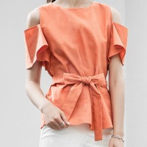 J.O.A. Orange Cut Out Shoulder Tie Waist Top